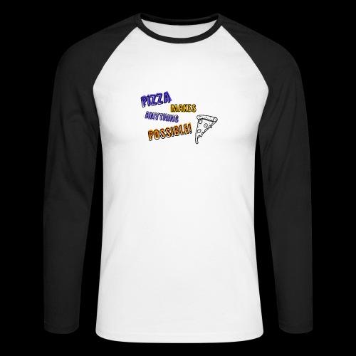 Pizza makes anything possible! - Colorful Design - Maglia da baseball a manica lunga da uomo