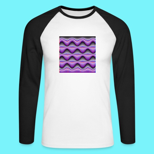 Sine waves in red and blue - Men's Long Sleeve Baseball T-Shirt