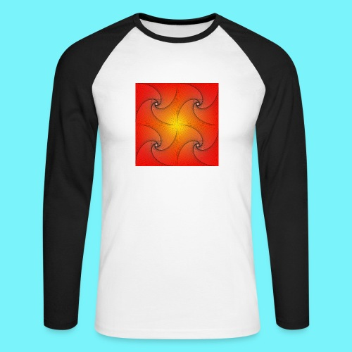 Pursuit curve in red and yellow - Men's Long Sleeve Baseball T-Shirt