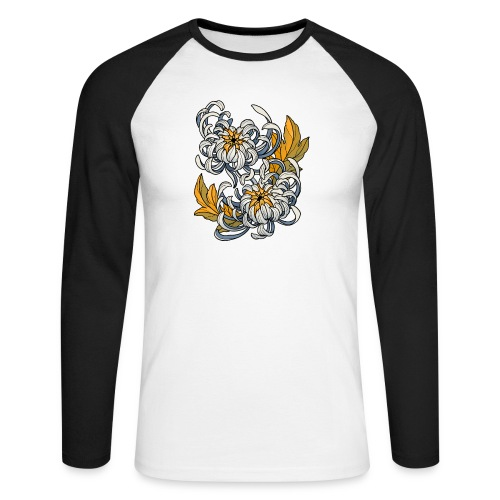Chrysanthèmes enlacés - T-shirt baseball manches longues Homme