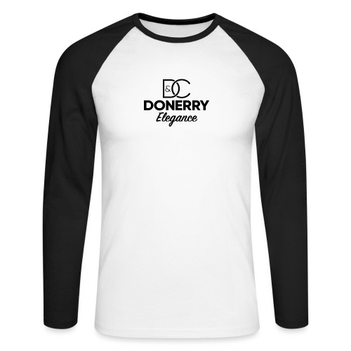 Donerry Elegance Black Logo on White - Men's Long Sleeve Baseball T-Shirt