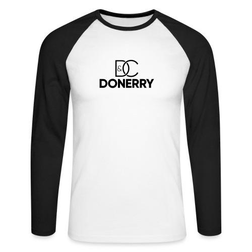 DONERRY Black Logo on White - Men's Long Sleeve Baseball T-Shirt