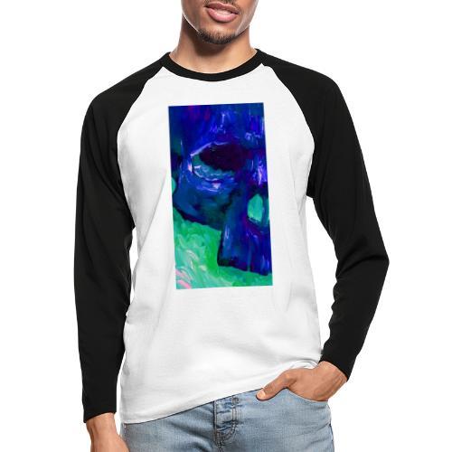 Blue Skull #2 - Mannen baseballshirt lange mouw