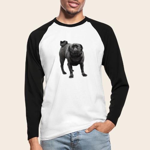 schwarzer Mops - Männer Baseballshirt langarm