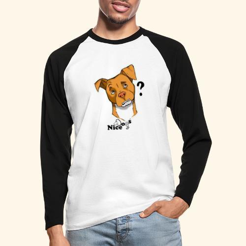 Nice Dogs pitbull 2 - Maglia da baseball a manica lunga da uomo