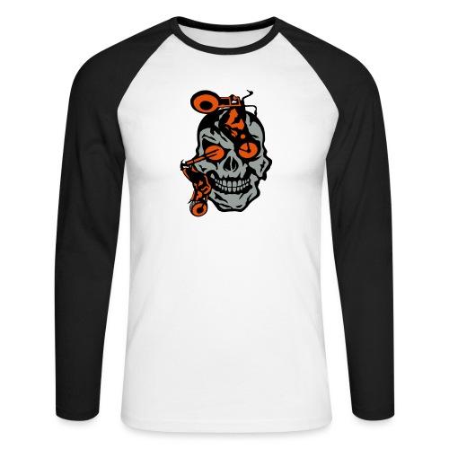tete mort moto motrocycle oeil skull - T-shirt baseball manches longues Homme