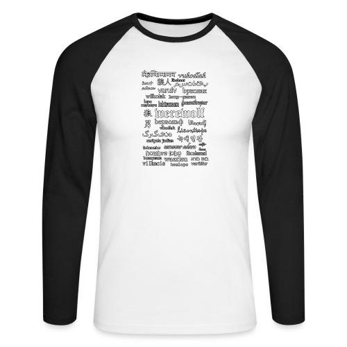 Werewolf in 33 Languages (Black Ver.) - Men's Long Sleeve Baseball T-Shirt