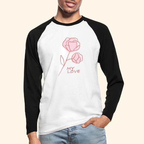 Rose My Love - Mon Amour - Saint valentin - T-shirt baseball manches longues Homme