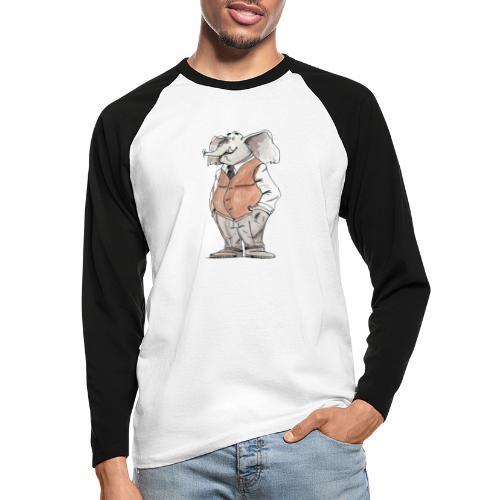 elephant Bd aquarelle caricature homme - T-shirt baseball manches longues Homme