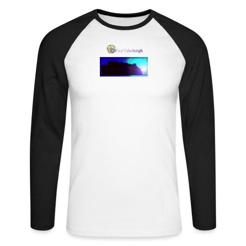 Silhouette of Edinburgh Castle - Men's Long Sleeve Baseball T-Shirt