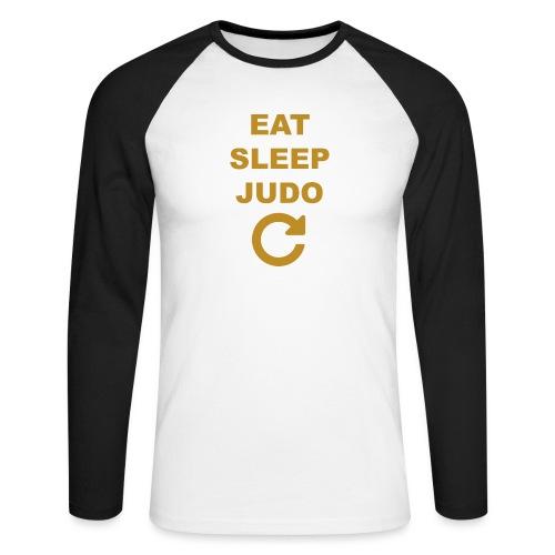 Eat sleep Judo repeat - Koszulka męska bejsbolowa z długim rękawem