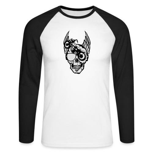 tete mort moto skull aile motard oeil - T-shirt baseball manches longues Homme