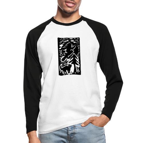 Hexe mit Katze - Männer Baseballshirt langarm