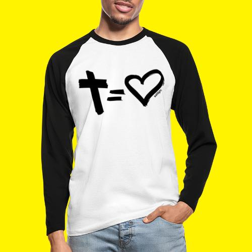 Cross = Heart BLACK - Men's Long Sleeve Baseball T-Shirt