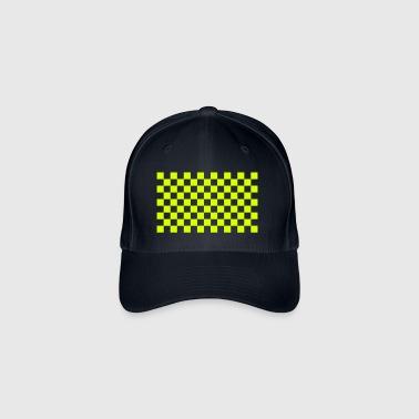 cuadros pattern black white - Gorra de béisbol Flexfit
