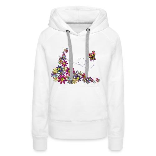 flower patchwork with butterfly png - Sweat-shirt à capuche Premium pour femmes