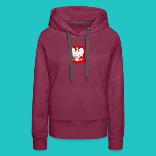 Koszulka z godłem Polski - Bluza damska Premium z kapturem