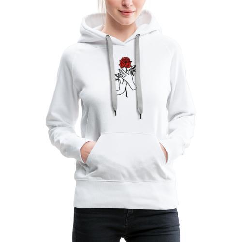 Fiore rosso - Felpa con cappuccio premium da donna