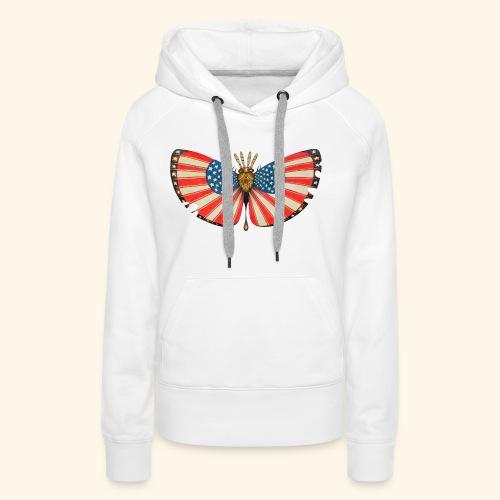 patriot moth - Felpa con cappuccio premium da donna