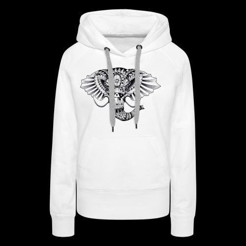 Elephant Ornate Drawing - Felpa con cappuccio premium da donna