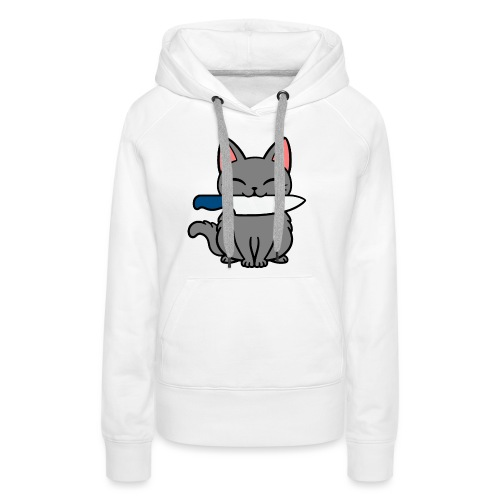 Fröhliche Katze mit Messer - Frauen Premium Hoodie