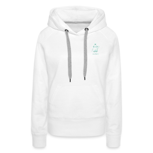 Blanc avec logo dojo vert jette - Sweat-shirt à capuche Premium pour femmes