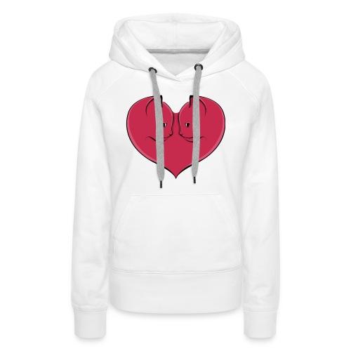 chatcoeur5 - Sweat-shirt à capuche Premium pour femmes