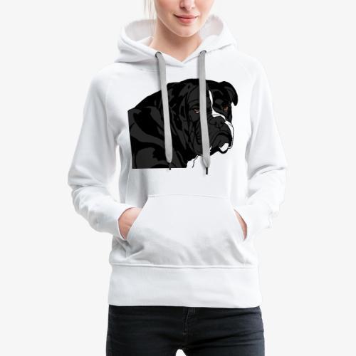 bulldog noir - Sweat-shirt à capuche Premium pour femmes