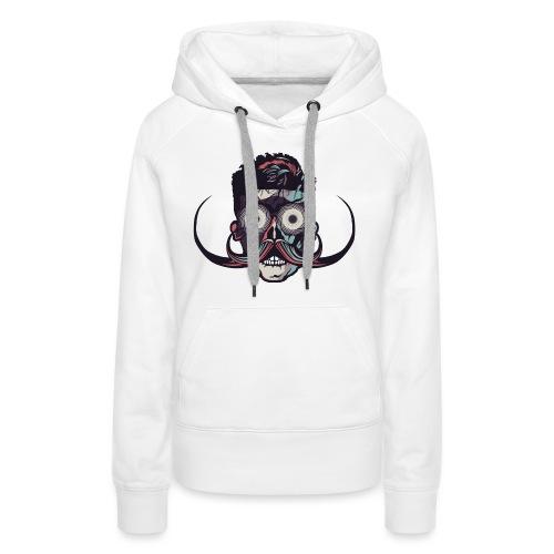 hipster tete de mort crane barbu skull moustache b - Sweat-shirt à capuche Premium pour femmes