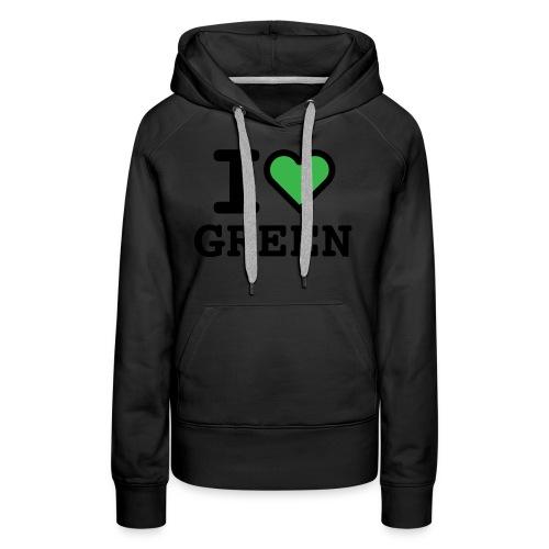 i-love-green-2.png - Felpa con cappuccio premium da donna