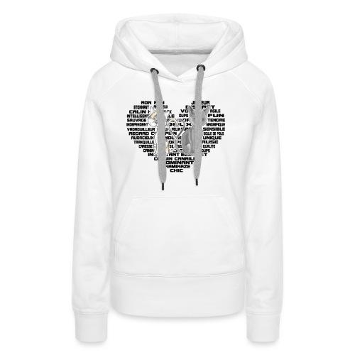 Cœur de chat noir - Sweat-shirt à capuche Premium pour femmes
