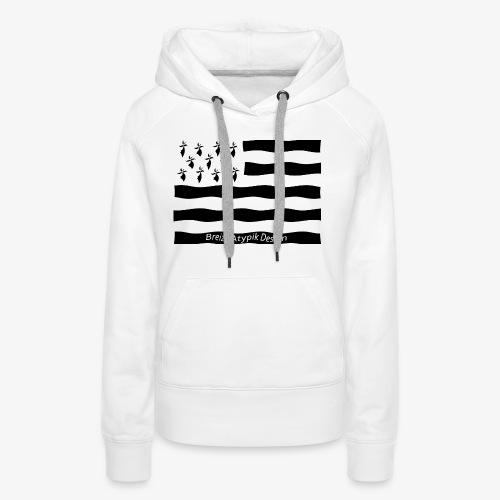 Gwenn ha Du-Noir fond transparent - Sweat-shirt à capuche Premium pour femmes