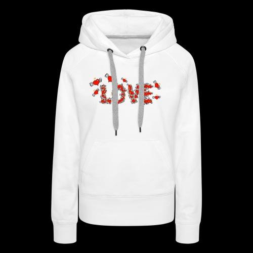 Flying Hearts LOVE - Dame Premium hættetrøje