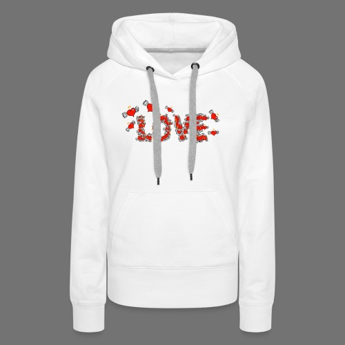 Latające miłości serc - Bluza damska Premium z kapturem