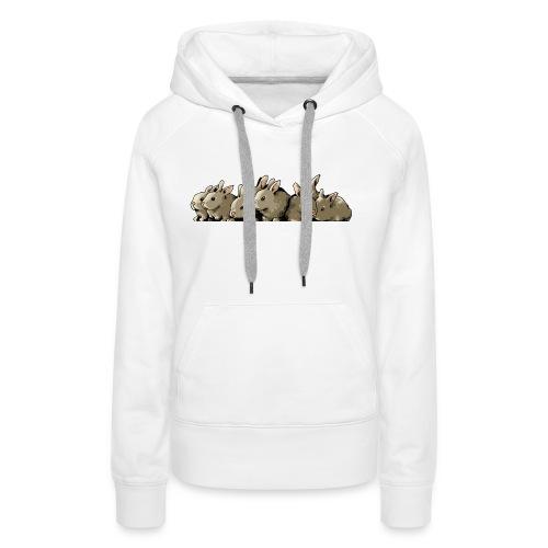 Lapins gris - Sweat-shirt à capuche Premium pour femmes