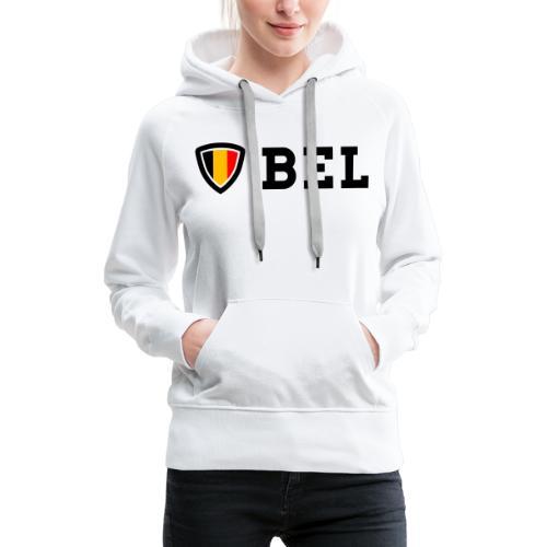 BEL Belgium Blason tricolore Football - Sweat-shirt à capuche Premium pour femmes