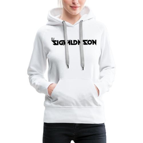 DJ logo sort - Dame Premium hættetrøje