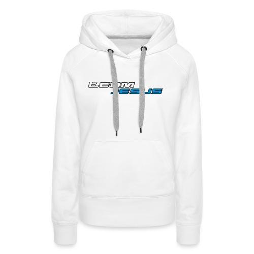 Team Jesus Racing Sport Logo White Blue - Bluza damska Premium z kapturem