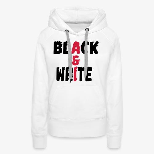 black et white - Sweat-shirt à capuche Premium pour femmes