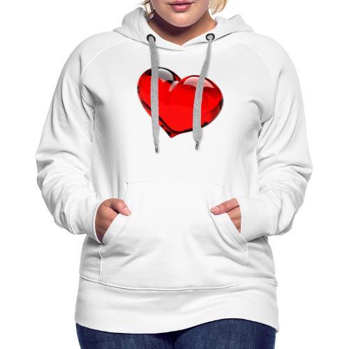 serce 3D - Bluza damska Premium z kapturem