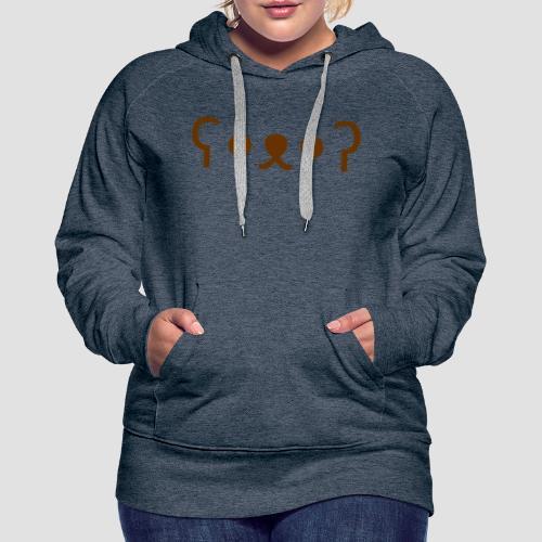 Kuma Kaomoji (Marron) - Sweat-shirt à capuche Premium pour femmes