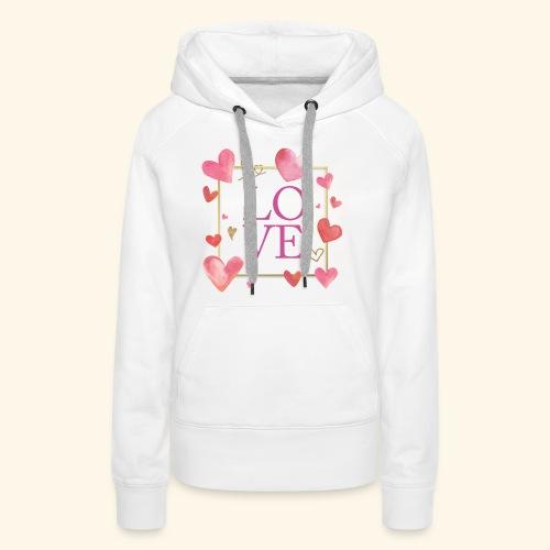 LOVE - Felpa con cappuccio premium da donna