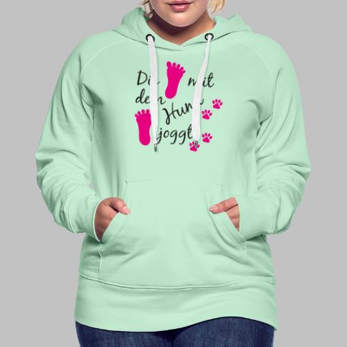 Die mit dem Hund joggt - Pink Edition - Frauen Premium Hoodie