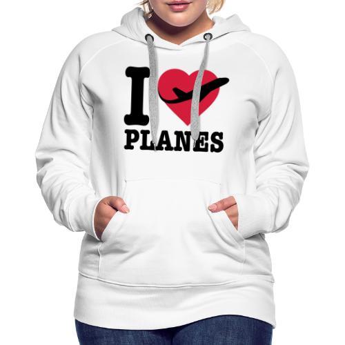 Uwielbiam samoloty - czarne - Bluza damska Premium z kapturem