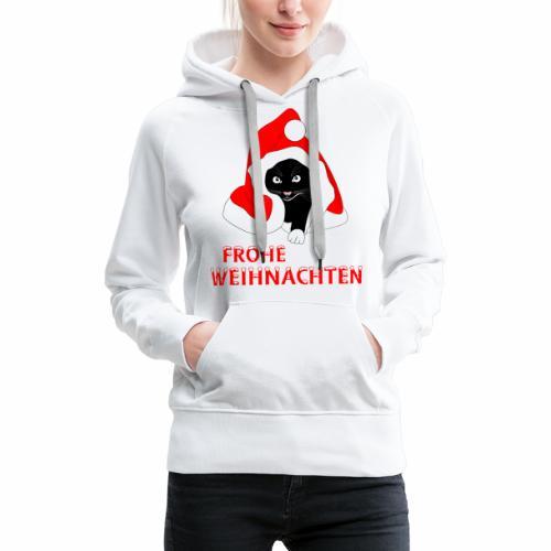 Frohe Weihnachten - Schwarze Katze - Sweat-shirt à capuche Premium pour femmes