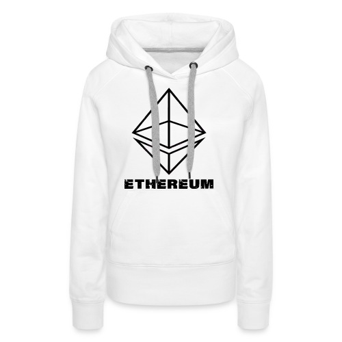 Ethereum Octahedron Line Drawing White - Women's Premium Hoodie