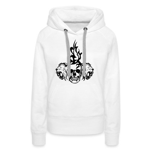 tete mort dead skull tribal lion - Sweat-shirt à capuche Premium pour femmes