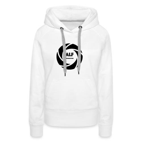 Logo Nero - Felpa con cappuccio premium da donna