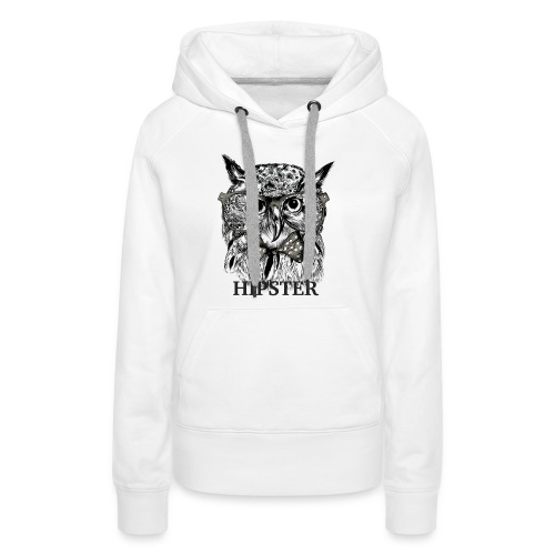 Hibou Hipster - Sweat-shirt à capuche Premium pour femmes