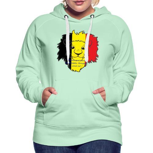 Lion supporter Belgique - Sweat-shirt à capuche Premium pour femmes